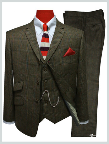 mens suit |prince of wales brown 3 piece check suit,60s vintage style