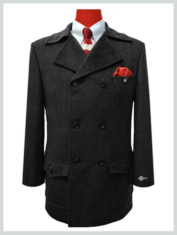 pea coat| tailore made 1960's retro black pea coat mens