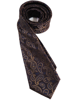 paisely tie| classic brown silk neck tie for men