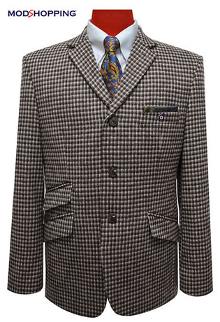 tweed blazer| 3 button mod houndstooth blazer jacket for winter