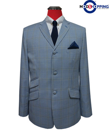 60's check mod summer blazer| sky colour 3 button tailored vintage style blazer