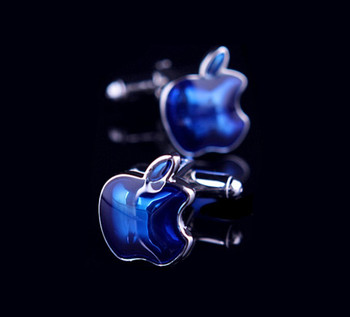 luxury apple blue cufflinks for men. 60s mod style