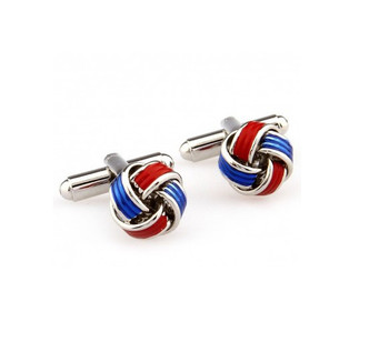 retro mod clothing stainless steel green & blue knots cufflinks for men
