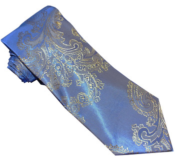 paisley tie| men's classical golden blue skinny tie