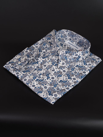 paisley shirt| blue colour long sleeve mens paisley shirt