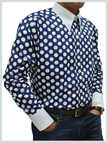 polka dot shirt|  big white dot in navy blue shirt for men