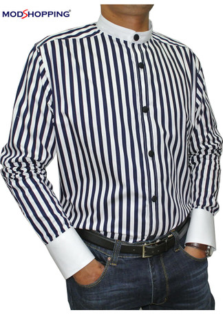 mandarin collar shirt| 60s mod navy blue & white stripe mod shirt