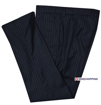 prince of wales classic pinstripe navy blue mod mens trouser