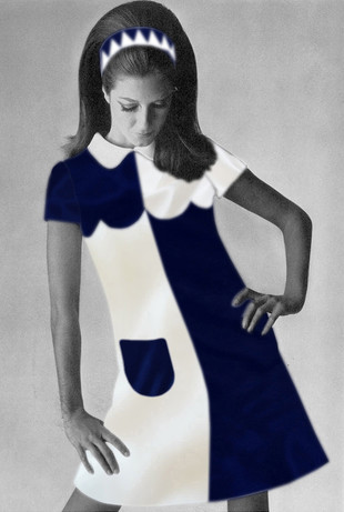 Retro 60's Navyblue & white dress