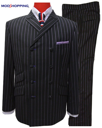 double breasted suit|stripe 60s dark navy blue vintage suit mod style