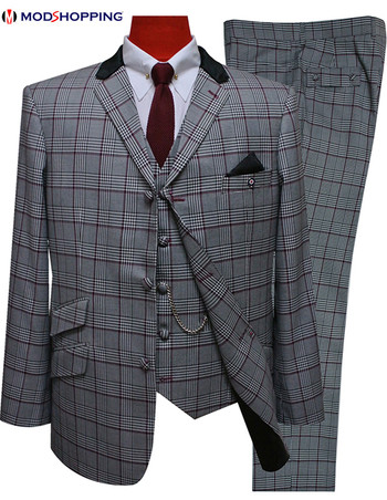 3 piece suit|burgundy prince of wales check 3 button mod suit for men