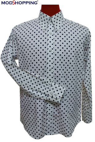 polka dot shirt| small navy blue dot in white colour mod shirt