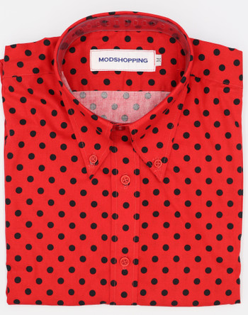 polka dot shirt| small black dot in red polka dot shirt for men