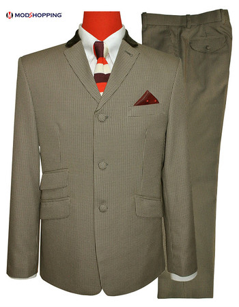 60's LIGHT BROWN MOD SUIT