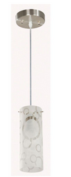 4-1-Light Brushed Nickel Mini Pendant with Bubble Pattern Etched White Glass