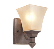Cabernet Collection 1-Light Antique Bronze Sconce with Tea Stained Shade