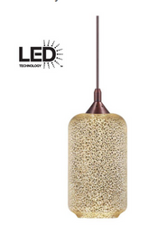 HDC Bronze LED Pendant with Mercury Crackle Glass Shade