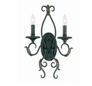 World Imports Angela Collection 2-Light Wrought-Iron Wall Sconce