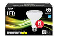 Feit Electric 65W Equivalent Soft White BR30 Dimmable LED Light Bulb 6-pk