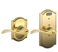 Schlage Ingersoll-Rand Camelot Residential Keyed Entry Door Lever Brass