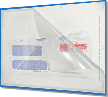 NOTE: The blue background border in the store product image is a simulated background added for display purposes only. The DocPocket sleeve has a clear front and a white back.