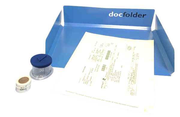 BLUE: Each Kit includes a Dispenser, DocPocket, DocFolder and a roll of stamps.