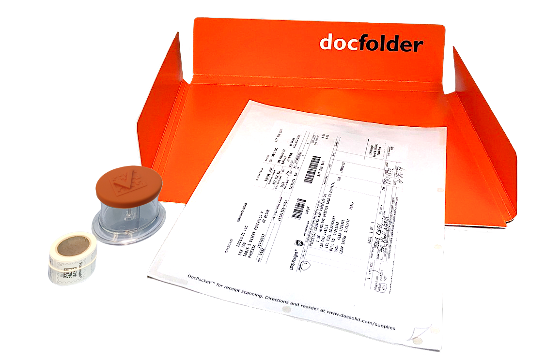ORANGE: Each Kit includes a Dispenser, DocPocket, DocFolder and a roll of stamps.