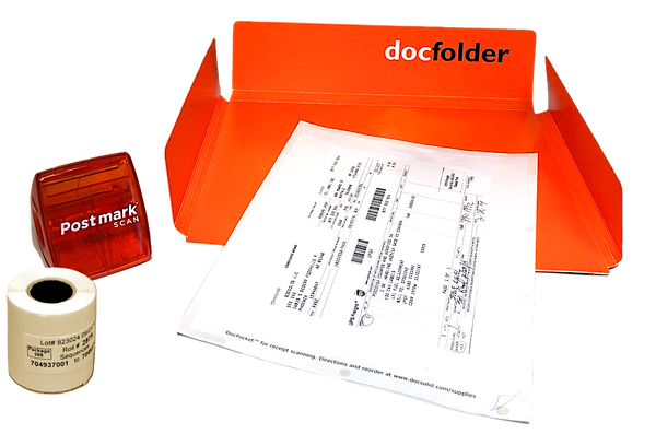 ORANGE: Each Kit includes a Dispenser, DocPocket, DocFolder and a roll of labels.