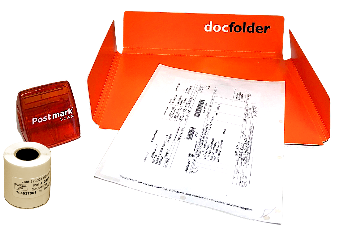 ORANGE: Each Kit includes a Dispenser, DocPocket, DocFolder and a roll of labels.