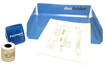 BLUE: Each Kit includes a Dispenser, DocPocket, DocFolder and a roll of labels.