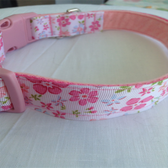 "Pink Flower Dog Collar 12""-18"""