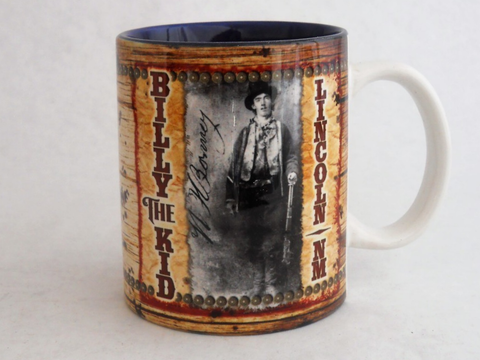 Billy the Kid Coffee Mug  - made of sturdy ceramic.  The mug is printed on both sides in bright colors.  Shipped from our store in Billy the Kids home town of Lincoln, New Mexico