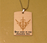 TRIFORCE LOGO :  the Legend of Zelda -Wooden Dog Tag - Stainless Steel Ball chain 30 inch - Free Engraving
