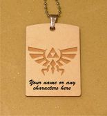 TRIFORCE LOGO #1 from the Legend of Zelda Wooden Dog Tag - Stainless Steel Ball chain 30 inch - Free Engraving