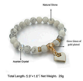 Healing Natural Stone  Bracelet and Heart Charm.  good for Christmas Gifts