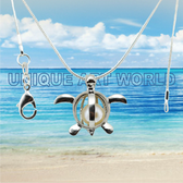 Turtle SILVER PLATED Pearl Cage Pendant Necklace