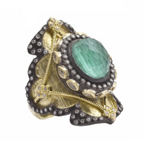 Armenta Heraldry Shield Ring with Malachite Doublet
