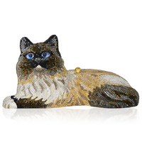 Judith Leiber Fluffy Cat Crystal Minaudière Clutch