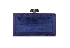 Judith Leiber Couture Coffered Cayman Croco Cobalt Blue Clutch