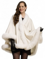 White and Ivory Cashmere Cape with Fox Trim