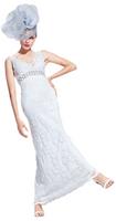 Olvi's Trend V-Neck Ivory Lace Dress with Beaded Belt