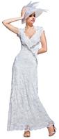 Olvi's Trend V-Neck Ivory Lace Dress with Silver Design