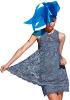 Olvi's Trend Glaucous Blue Yoke Lace Dress