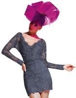 Olvi's Trend Gunmetal Grey Deep V-Neck Long Sleeve Lace Dress