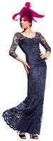 Olvi's Trend Charcoal Scoop Neck Lace Dress