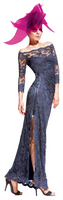 Olvi's Trend Charcoal Off the Shoulder Lace Dress with Slit
