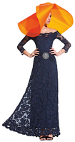 Olvi's Trend Navy Off the Shoulder Lace Dress with Crystal Waist Pendant