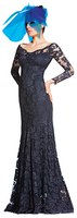 Olvi's Trend Indigo Off the Shoulder Lace Dress with Open Back Lace Designs