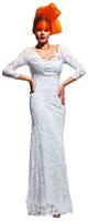 Olvi's Trend White V-Neck 3/4 Sleeve Lace Dress