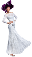 Olvi's Trend White Off the Shoulder Lace Dress with Crystal Waist Broach